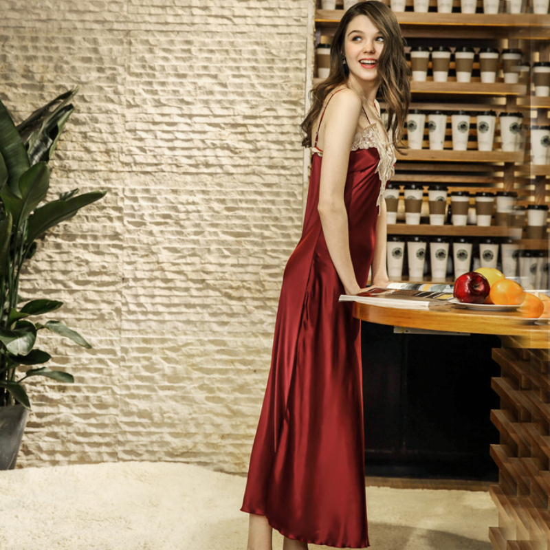 NG0180 2018 New Summer Sexy Long   Nightgowns     Sleepshirts   Women Satin Silk Nightdress V Neck Lace Satin Silk Night Dress Lingerie