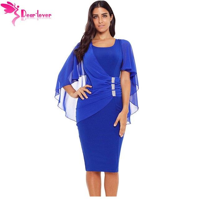 Dear Lover Women Office Dresses 2018 Autumn Blue Waist Pleats Rhinestone  Detail Slim Casual Midi Sheath Dress Vestidos LC610293 4f8425709bb5
