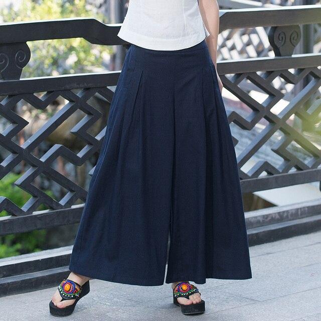 0ca86244df0 Plus Size Black Women Linen Wide Leg Pants Vintage Casual Trousers Palazzo  Pants