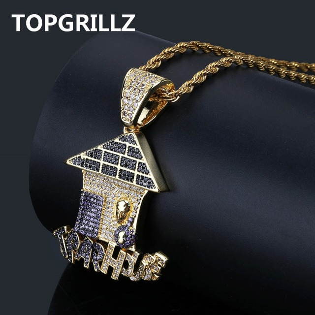 165c49b68c08f0 TOPGRILLZ Hip Hop Multi Color Trap House Pendant Necklace Iced Out Cubic  Zircon Necklace Men Jewelry Gifts With 4mm Tennis Chain