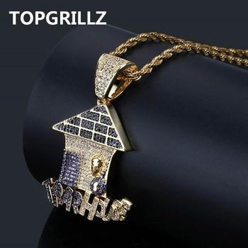TOPGRILLZ Hip Hop Multi Kleur Val Huis Hanger Ketting Iced Out Cubic Zirkoon Ketting Mannen Sieraden Geschenken Met 4mm tennis Chain