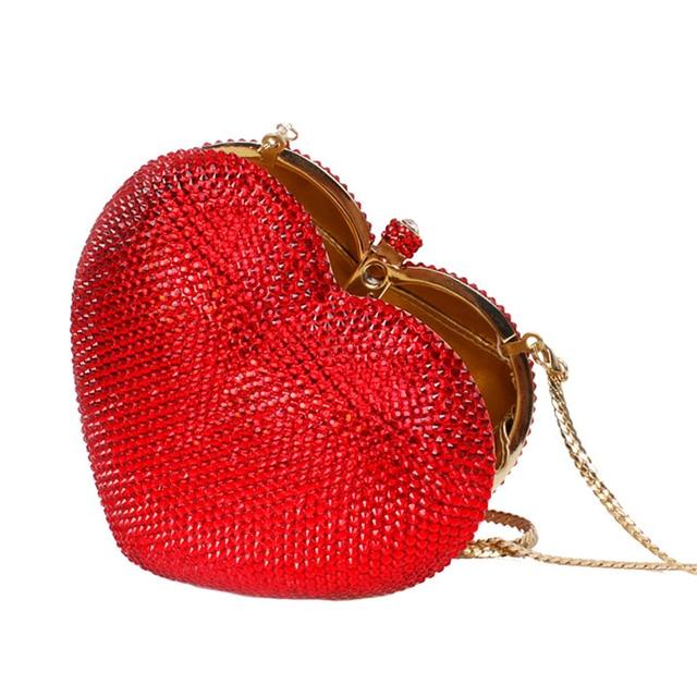 Red heart shape crystal clutch bag Rhinestone evening bag metal Ladies  party purse Heart shaped diamond Ladies Wedding Bag 88167 043f28b4984be