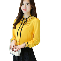 Cute Bow Tops New Korean Style Women Autumn Spring Basic Shirts Elegant Office Lady White Black