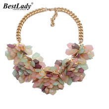 Best lady Popular Fashion Necklace Exaggerated Geometric Colorful Jelly color Crystal Gems Flower Statement Necklace Women