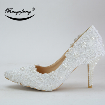 BaoYaFang Pointed Toe New arrival Autumn White Wedding shoes Ladies Lace dress shoes woman fashion High heel shoes