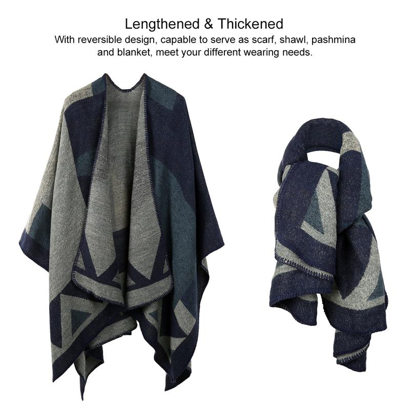 7ff72ca53 Vbiger Women Color Block Shawl Wrap Open Front Poncho Cape Oversized Winter  Blanket Reversible Scarf Thick Cardigan Coat-in Women's Scarves from  Apparel ...