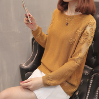 XL XXXL Plus Size Knitted Sweater Women Winter Clothes 2019 Hollow Out Mesh Crochet Patchwork Long Sleeve Loose Casual Pullover