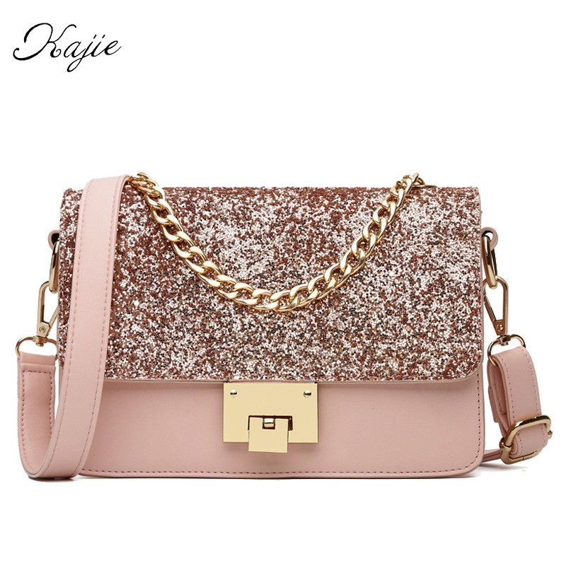 Kajie Luxury Handbags Women Bags Designer Pink Black Blue Summer Shoulder Bag Golden Chain Lock Evening Bags Bolsa De Ombro luxury handbags women chain messenger bag lipstick lock designer woman black