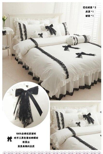couvre lit couette couleur Romantique noir dentelle princesse couette / housse de couette  couvre lit couette couleur