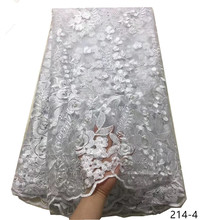 Latest White African Laces Fabrics Embroidered French Lace Fabric Cheap Net tulle 214