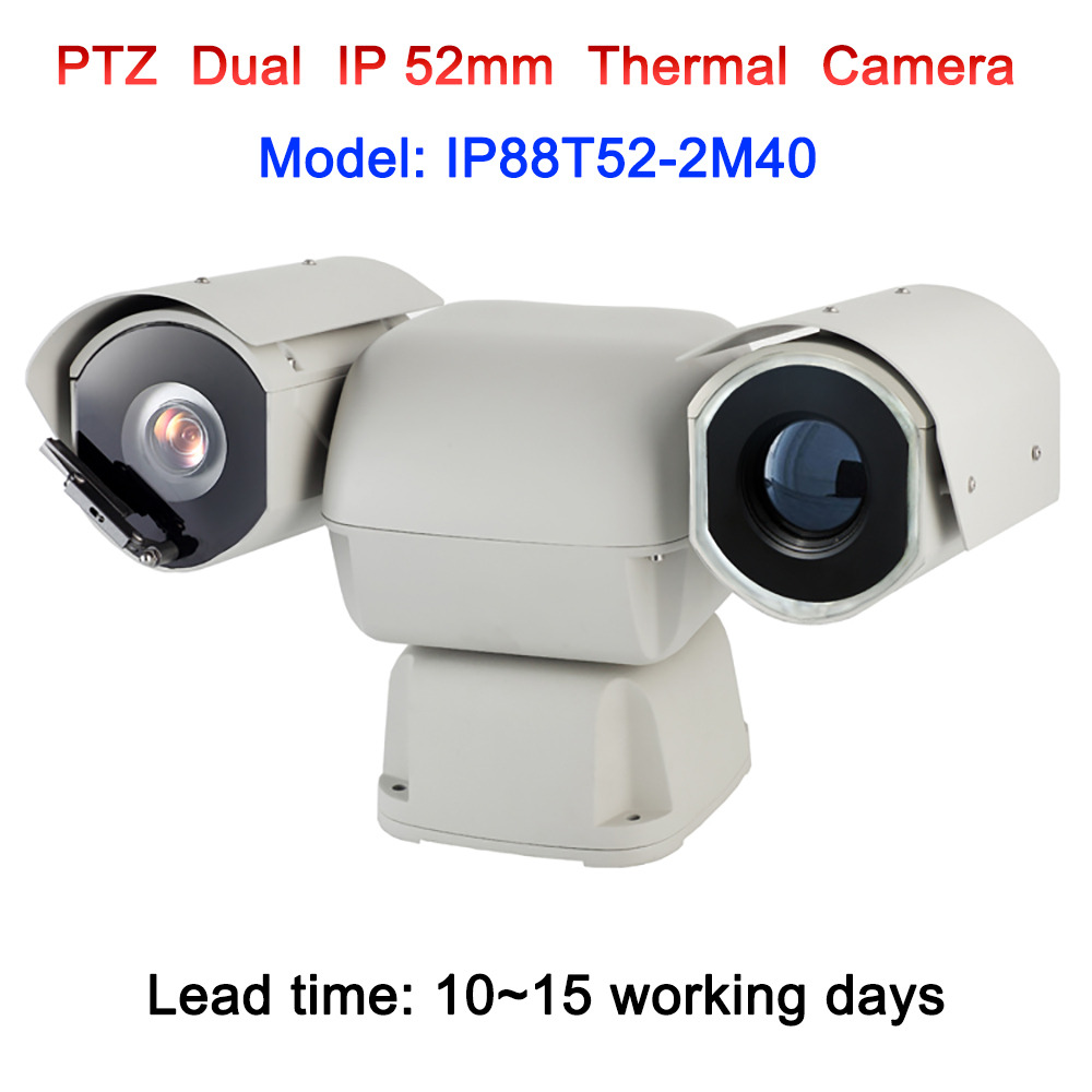 Detection 5km long range dual sensor PTZ hot spots intelligent alarm ip thermal camera with 40x auto zoom visible camera module