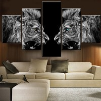 5 Piece Roaring Lions Canvas Painting Art Print Poster Wall Decor Art Decorative Painting Frameless