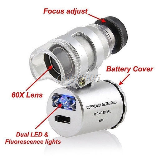 Mini 60X Magnifier Microscope UV Jeweler Loupe currency Detector with LED Light G05 Drop Ship