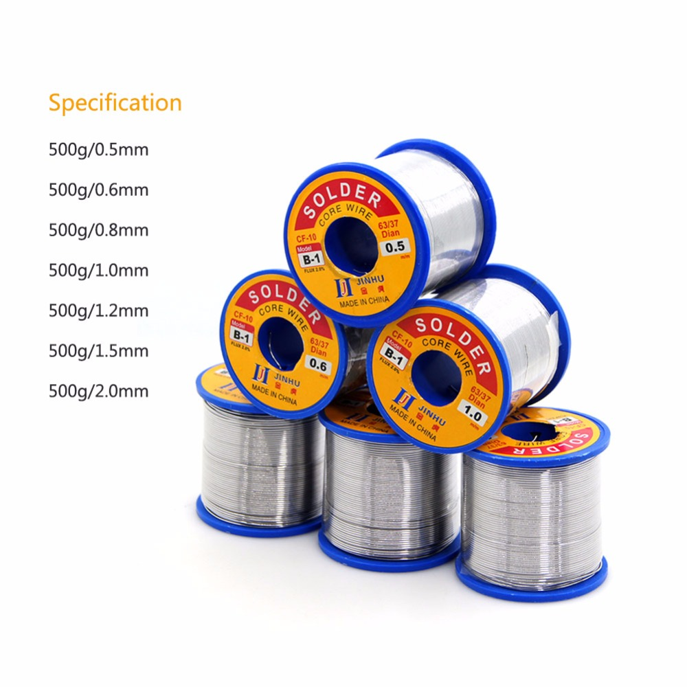 Yieryi Solder Wire 63/37 500g/roll 0.5/0.6/0.8/1.0/1.2/1.5/2.0mm Clean Rosin Core Low Melting Point Brightness Soldering Tools