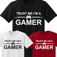 TRUST ME I'M A GAMER MENS T SHIRT COMPUTER FUNNY LETTER PRINTED GEEK TEE TOP SHIRT 100% COTTON PLUS SIZE S 3XL