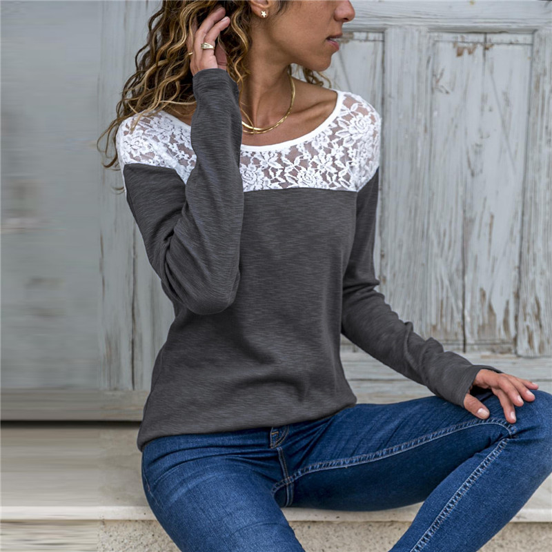 Fashion Round Neck Long Sleeve Stitching Lace Top Casual Solid Color T shirt Loose Pullover Tops Women in T Shirts from Women 39 s Clothing