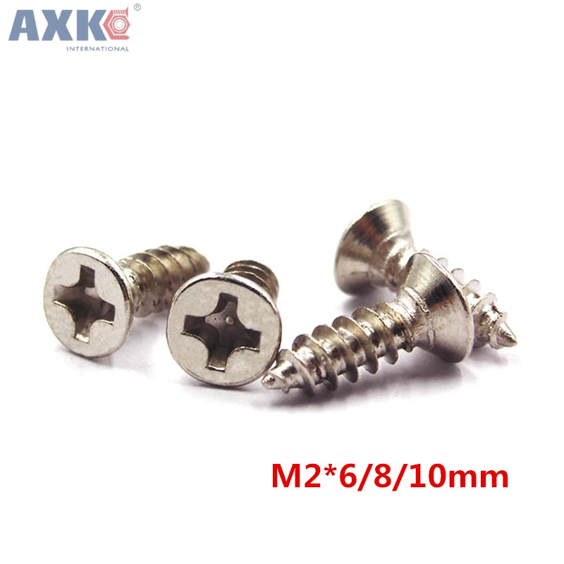 Hardware Alert Axk 1000pcs 2x6/8/10mm Screws Nuts Silver M2 Flat Round Head Fit Hinge Countersunk Self-tapping Screw Wood Hardware Tool Nourishing The Kidneys Relieving Rheumatism