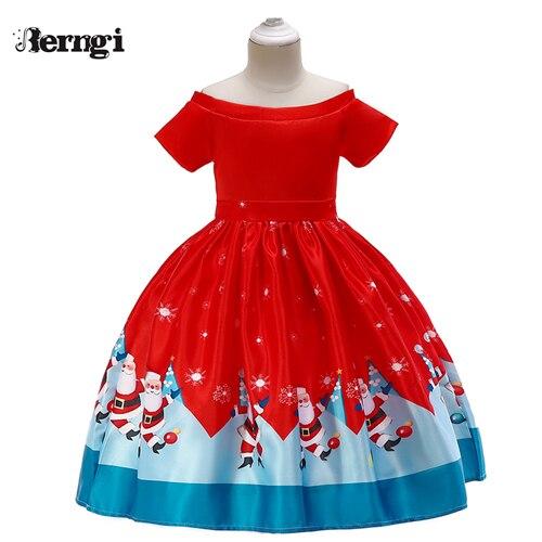 Berngi/новое красивое платье с принтом для девочек; vestidos; платье принцессы Санты для маленьких девочек; рождественские наряды; одежда - Цвет: Style K