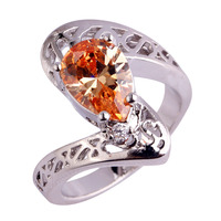 Art Deco Pear Cut Twinkling Champagne Morganite 925 Silver Ring Size 6 7 8 9 Jewelry Rings Women Gift Wholesale Free Shipping