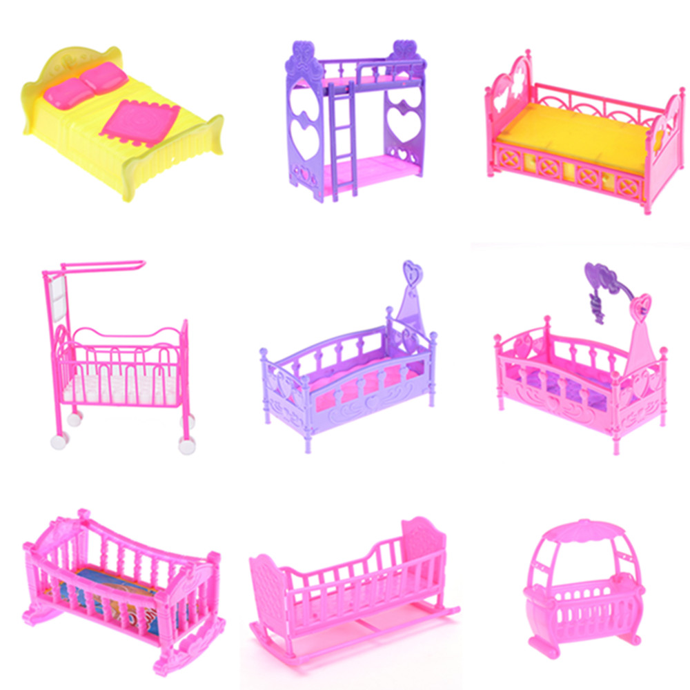One Piece Plastic Double Bed Frame Pillow Sleepwear Crystal Shoes For Barbie Doll Bedroom Furniture Accessories Multi Styles