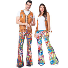 452791984afb Men Women 60s 70s Hippie Disco Costume Clothes Ladies Hippy Fringe Tops  Bell Pants Party Flare