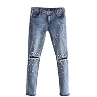Fashion Stretch Skinny Pants Hot Beads And Pearl Denim Pants Women Casual Slim Fit Rivet Ripped