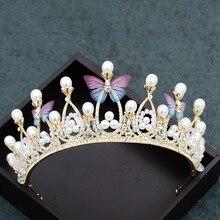 Wedding Hair Accessories Crystal Tiara For Brides Crown Gold Head Piece Bridal Hair Accessories Crystal Crowns Queen Diadem M30 цены