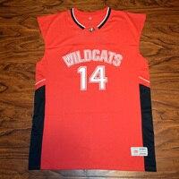 MM MASMIG Troy Bolton #14 Est Élevé L'école Wildcats de Basket-Ball Jersey Piqué Rouge S M L XL XXL XXXL