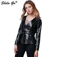 SHILO GO Leather Jacket Autumn Fashion sheepskin genuine leather Jacket V Neck leather belt long sleeve rivet concise loose coat