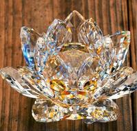 120mm Żółty Kryształ Kwiat Lotosu Szkło Paperweight Rzemiosło Naturalne Kamienie i Minerałów Wesele Wystrój Domu Prezenty Kwarcowy Figurki