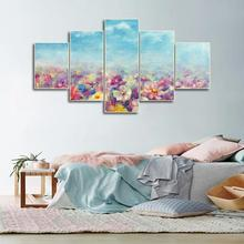 Laeacco Canvas Calligraphy Painting Abstract Garden Wall Art 5 Panel Posters and Prints Nordic Home Living Room Decor