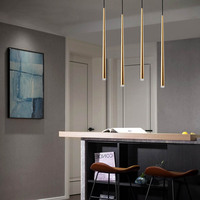 LED Pendant light Long Glossy Gold Tapered Bar Luxury Aviation D2.5 3 H60/100CM Bar Coffee Diningroom Dimmable CUSTOM