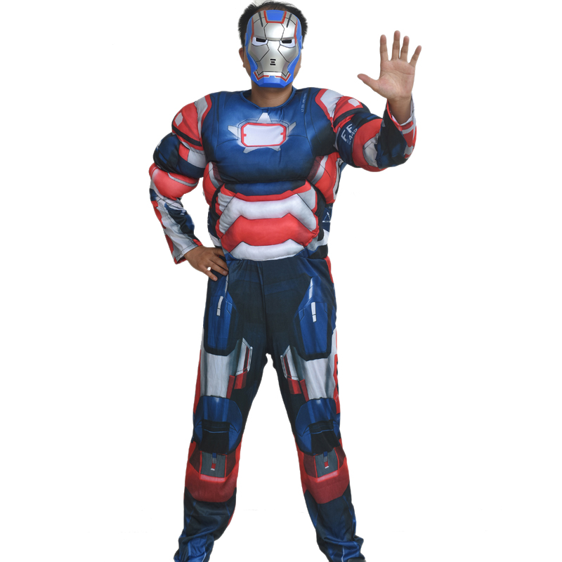 New Arrival Men Blue Iron Man Cosplay Costume Adult Muscle Jumpsuit Male Fancy Party Suit Halloween Performance Birthday Gift