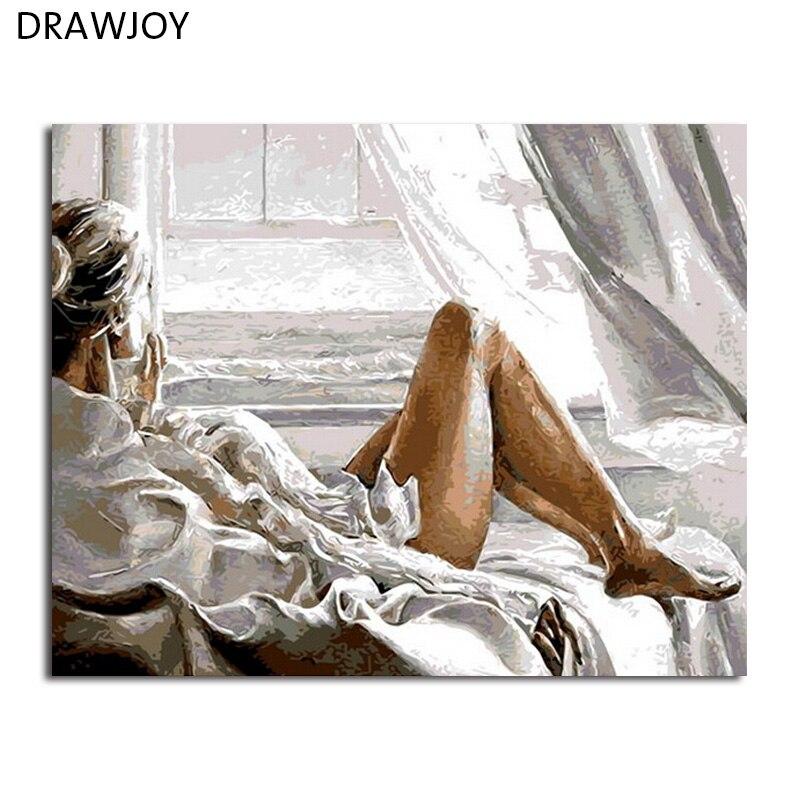 DRAWJOY Con Cornice Home Decor Immagini Pittura di DIY Dai Numeri Pittura A Olio Digitale Su Tela di Canapa Beauty Lady Wall Art