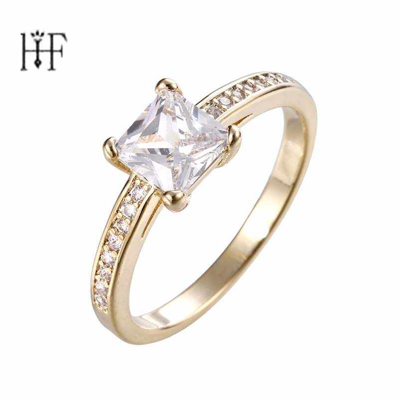Bohemian Simple Fashion Rectangular Women's Ring Gold/Silver Color CZ Stone Punk Engagement Ring Bague Femme Anelli Donna