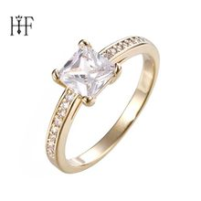 Bohemian Simple Fashion Rectangular Women's Ring Gold/Silver Color CZ Stone Punk Engagement Ring Bague Femme Anelli Donna(China)