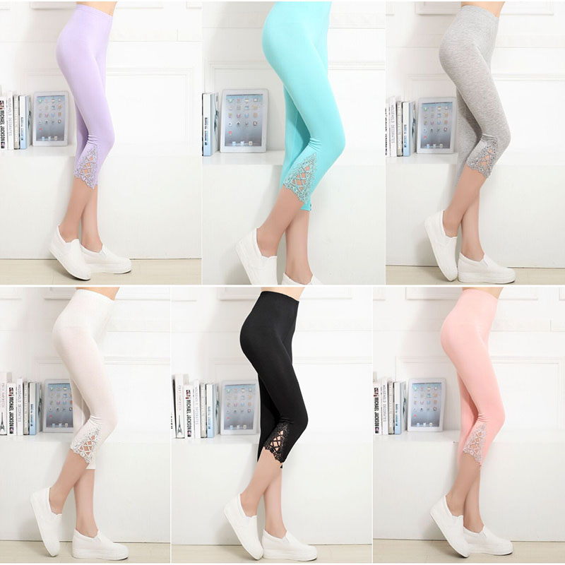 2017 Fashion Women Summer Lace Pants Skinny Stretch Cropped Capris Pants 3/4 Length Summer Trousers Leggings Pantalon Mujer