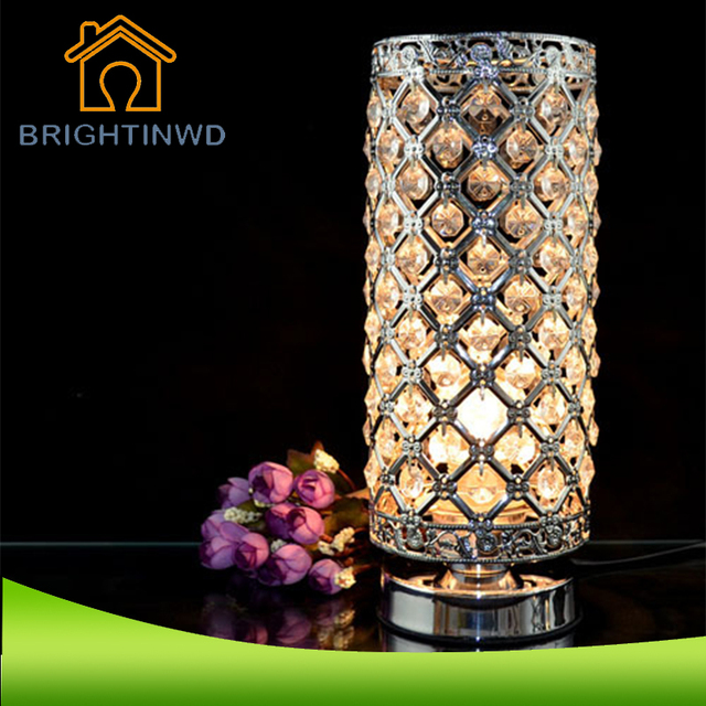 Modern Small Crystal Table Lamps Brief Bedroom Bedside Desk Lamp