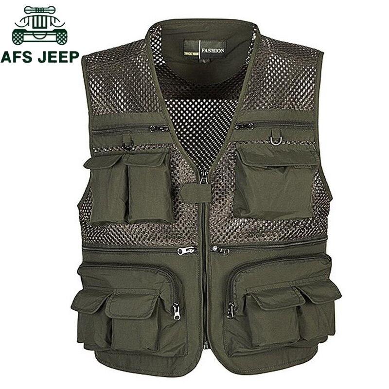 Afs jeep plus size 4xl verão ao ar livre viagens esportiva colete masculino respirável grade fotógrafo colete multi bolsos colete jaqueta