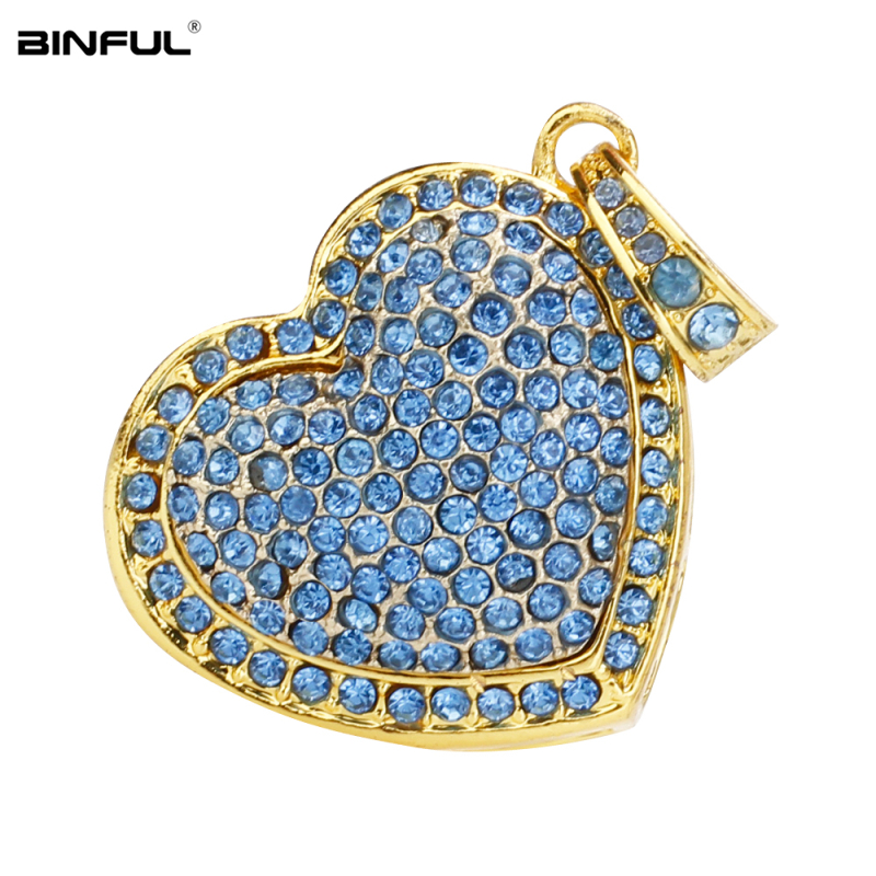 Image 2 - New Arrival pen drive metal love Heart usb flash drive 32gb crystal pendrive 128GB 64GB 16GB 8GB 4G flash Memory stick best gift-in USB Flash Drives from Computer & Office
