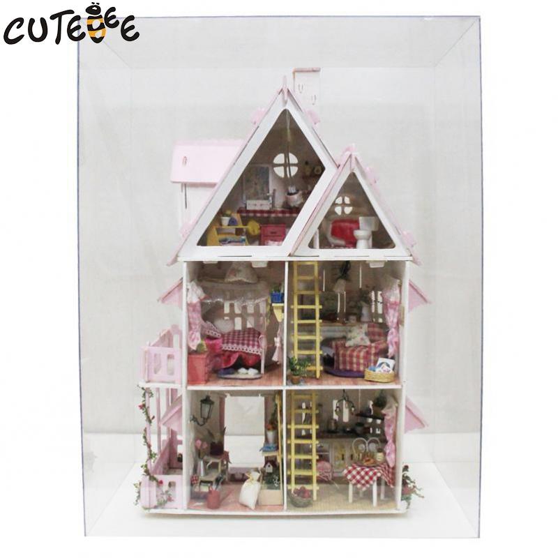 Hot Sale DIY Doll House Trä Miniatura Dollhouse Miniatyr Doll House - Dockor och tillbehör - Foto 3