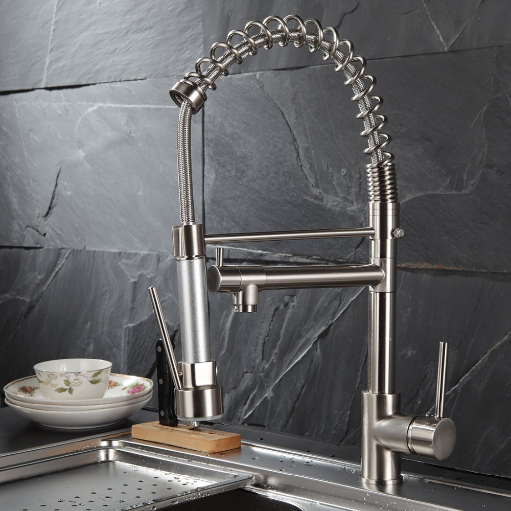 цена Contemporary Spring Single Handle Kitchen Sink Faucet with Pull Down Sprayer, Brushed Nickel Sink Mixer Tap Faucets в интернет-магазинах