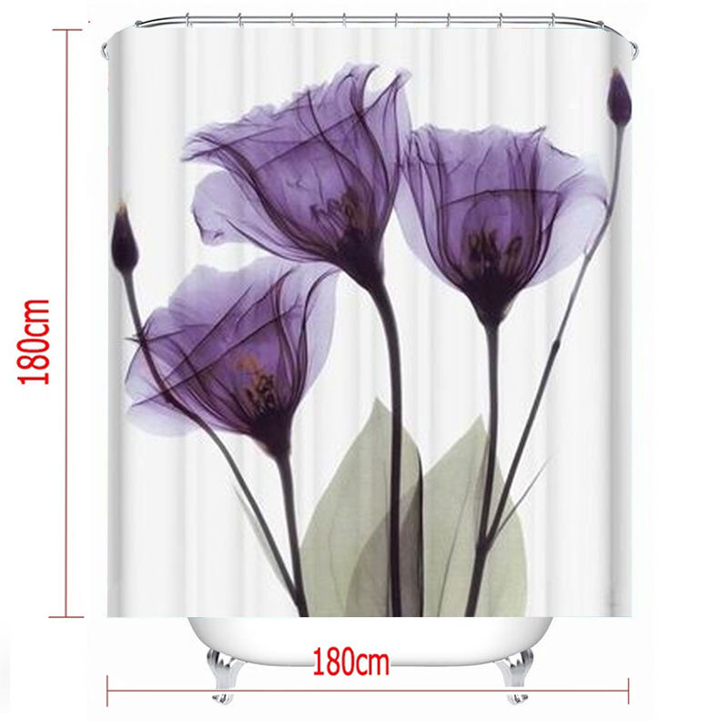 LANGRIA 4pcs Flower Print Bathroom Shower Curtain Set With Flannel Fabric For Bathroom And Toilet Windows 3