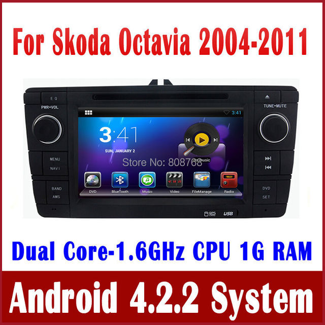 Android 4.2 Head Unit Car DVD Player GPS Navigation for Skoda Octavia 2004 2005 2006 2007 2008 2009 2010 2011 with Radio BT WiFi