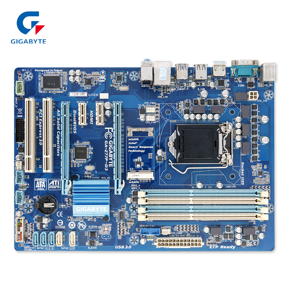 Gigabyte GA-Z77P-D3 Original Used Desktop Motherboard Z77P-D3 Z77 Socket LGA 1155 i3 i5 i7 DDR3 ATX On Sale купить