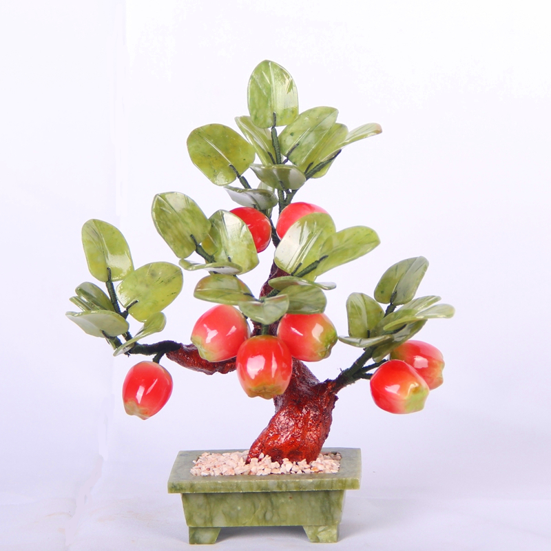 8 little apple tree jade jade ornaments jewelry crafts decorative Home Furnishing modern Home Furnishing simulation fruit gift xinqite home furnishing ornaments product suspension globe round 3 inch 85mm blue english version of the spot