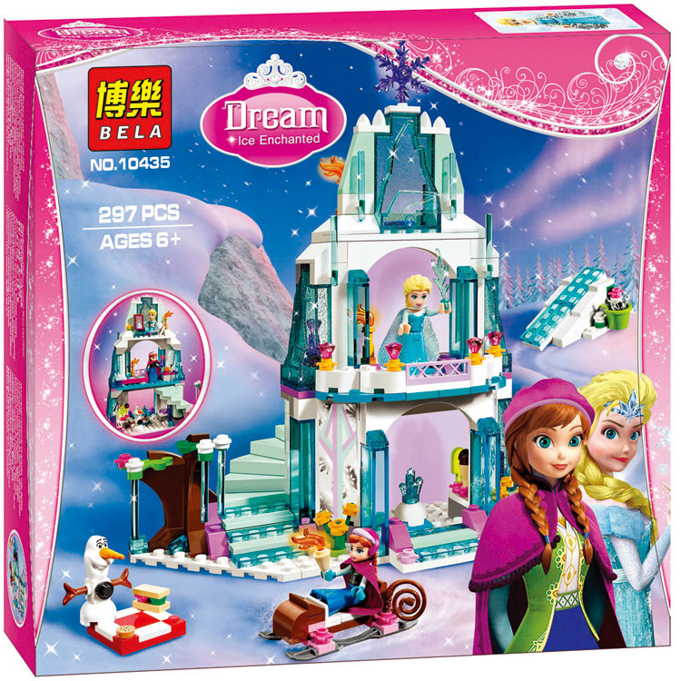 Lepin Bela 10435 Elsa's Sparkling Ice Snow Castle Anna Olaf Princess Girls Friends Building Blocks Bricks Toys Compatible Legoe кеды napapijri baker р 43 голубой