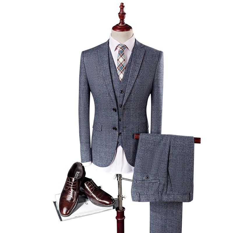 (jacket + Pants + Vest) Blu Retro Di Stile Del Signore Del Made Abiti Da Uomo Su Misura Vestito Di Griglia Slim Fit Blazer Abiti Per Gli Uomini Giacca 4xl