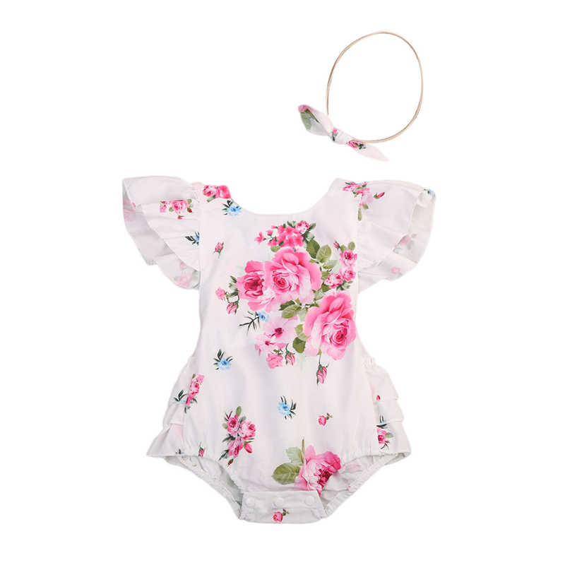 68cefa8b9 Detail Feedback Questions about Newborn Kids Infant Girls Bodysuits Ruffles  Flower Headband Backless Floral Jumpsuit New Clothing Summer 2pcs Baby Child  ...