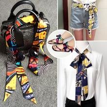 Silk Scarf Constellation Japanese Skinny Fashion Small-Tie-Bag Printed-Head Long Women